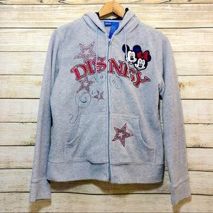Disney Mickey Minnie Full Zip Jacket Hoodie Size S